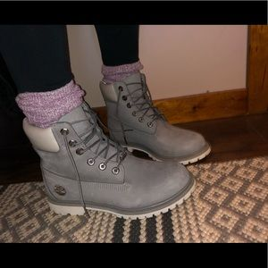 Gray Timberland boots